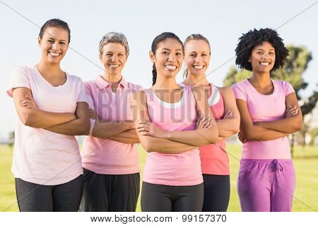 Portrait of smiling women wearing pink for breast cancer with arms crossed in parkland