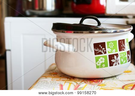 Retro Pot With Food In The Kitchen