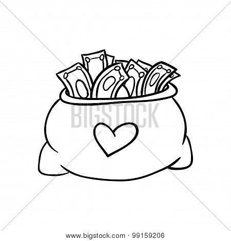 Money bag with dollar sign vector illustration doodle