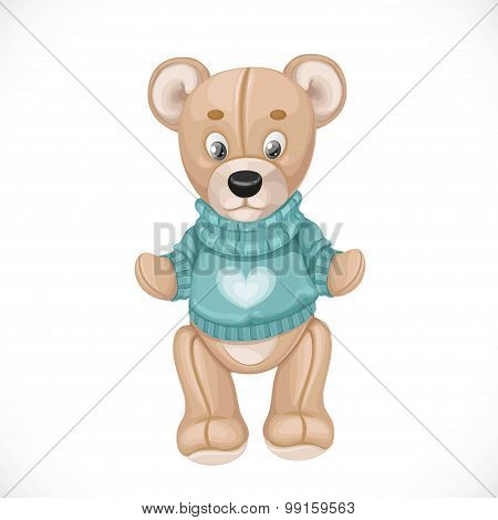 Toy Teddy Bear In Sweater Isolated On White Background