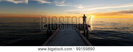 Lonely Man Fishing Alone During Sunset