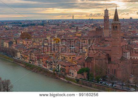 Sunset over Verona city, Italy.