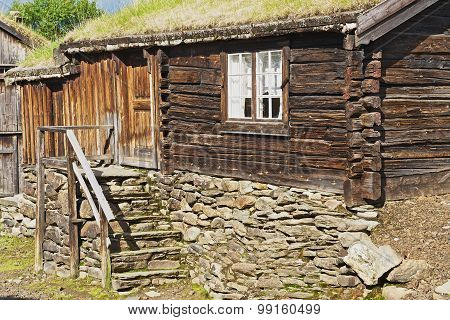 Exterior of the traditional timber house of the copper mines town of Roros, Norway.