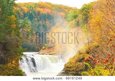 Autumn scene landscape of waterfalls and gorge at Letchworth State Park