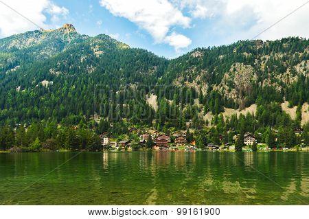 Landscape of alpine resort Champex-Lac, Valais, Switzerland