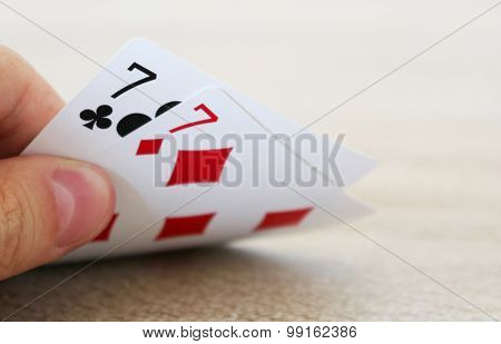 Poker Game With Hand Of Two Lucky Sevens