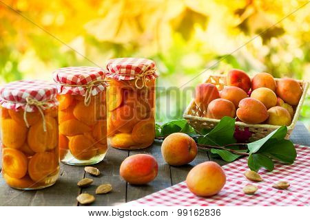 Jars with preserved apricot