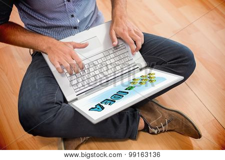 idea equation against young creative businessman working on laptop