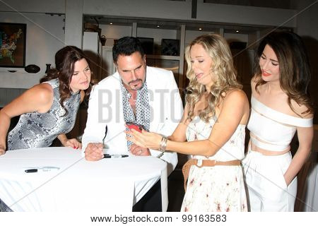 LOS ANGELES - AUG 14:  Heather Tom, Don DIamont, Jennifer Gareis, Jacqueline McInnes Wood at the Bold and Beautiful Fan Event Friday at the CBS Television City on August 14, 2015 in Los Angeles, CA