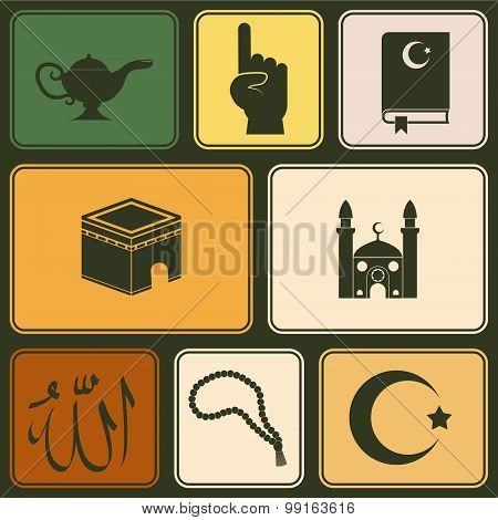 seamless background with islamic icons