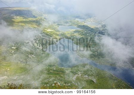 approaching fog over The Twin, The Trefoil, the Fish and The Lower Lakes,