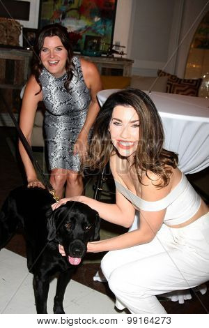 LOS ANGELES - AUG 14:  Heather Tom, Security Dog, Jacqueline MacInnes Wood at the Bold and Beautiful Fan Event Friday at the CBS Television City on August 14, 2015 in Los Angeles, CA