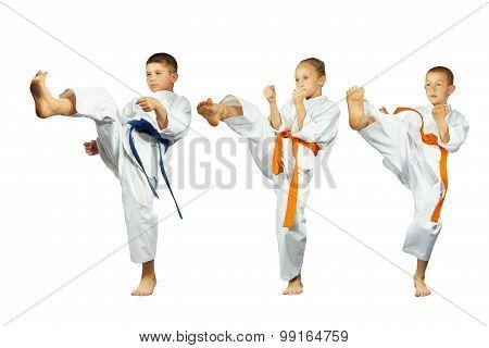 Mae-geri kick in perfoming three sportsmen in karategi collage