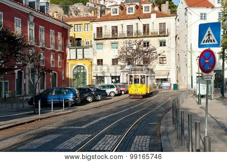 Vintage Yellow Tram Estrela 29 In Lisbon