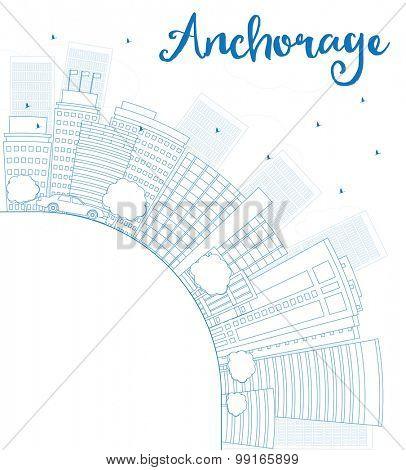 Outline Anchorage (Alaska) Skyline with Blue Buildings and copy space. Vector Illustration