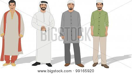 Group of four Muslim men