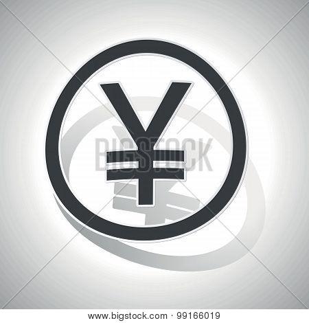 Yen sign sticker, curved