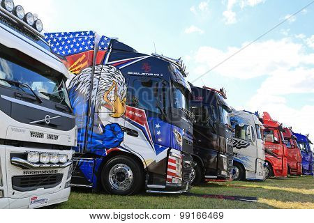 Row Of Volvo Show Trucks
