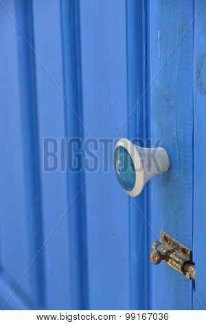 Handle On A Blue Door
