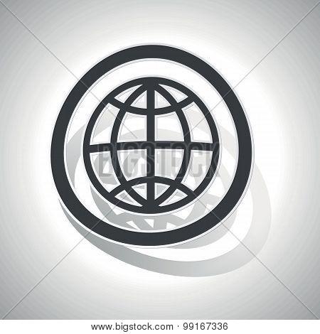 Globe sign sticker, curved