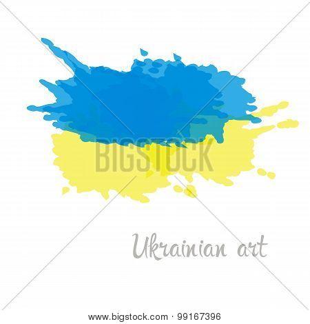 Ukraine flag hand painted