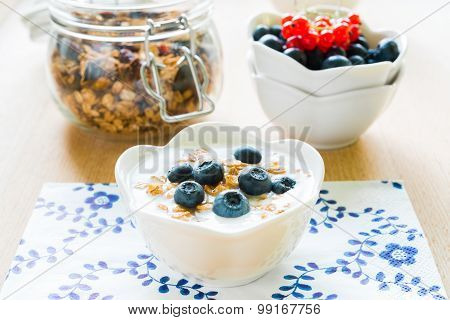 Healthy Breakfast With Granola, Yogurt And Fresh Fruits