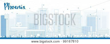 Outline Phoenix Skyline with Blue Buildings. Vector Illustration
