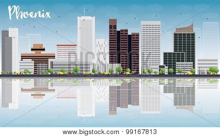 Phoenix Skyline with Grey Buildings, Blue Sky and reflections. Vector Illustration