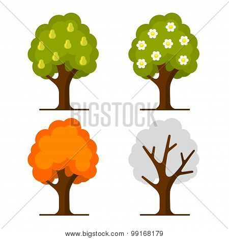 Pear Tree Set on White Background. Vector