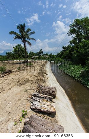 Irrigation Ditch With Beauty Sky In Asia