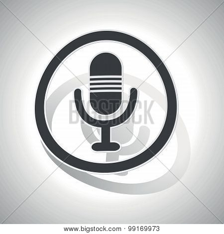 Microphone sign sticker, curved