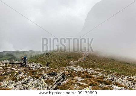 Tourists Climb To The Top Of Hoverla