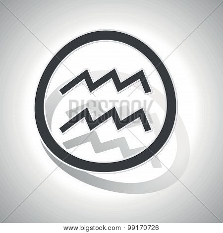 Aquarius sign sticker, curved