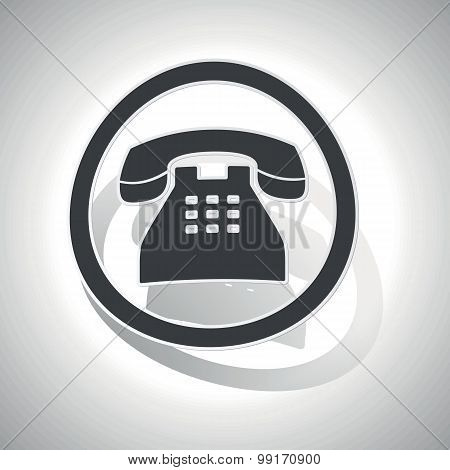 Telephone sign sticker, curved
