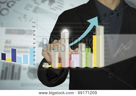 Man hand with pen drawing a graph chart and business strategy as concept on whiteboard