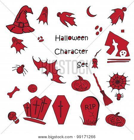 Set Of Halloween Traditional Symbols
