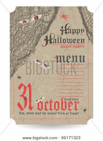 Vintage Menu To Halloween Party