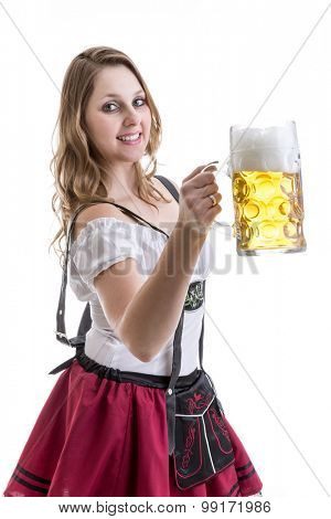 Young blonde woman in traditional bavarian costume on white background