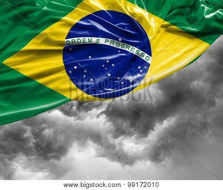 Brazilian waving flag on a bad day
