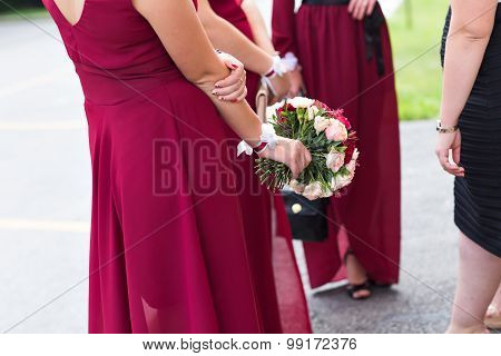 Wedding bouquet of a bride and bridesmaid