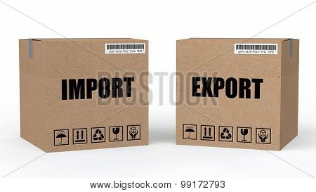 3d cartons with import export text