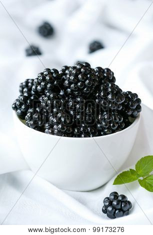 Natural organic blackberry healthy diet snack in white bowl. Clean eating superfood nutrition.