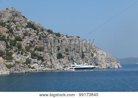 Island and boat in the Aegean Sea, Turkey, Marmaris