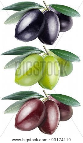 Green, black and kalamata olives with leaves on a white background. File contains clipping paths.