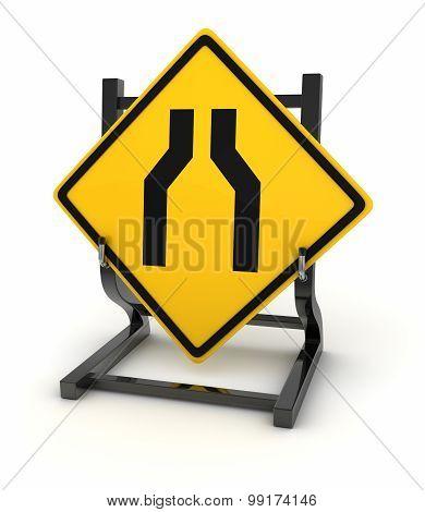 Road Sign - Road Narrows
