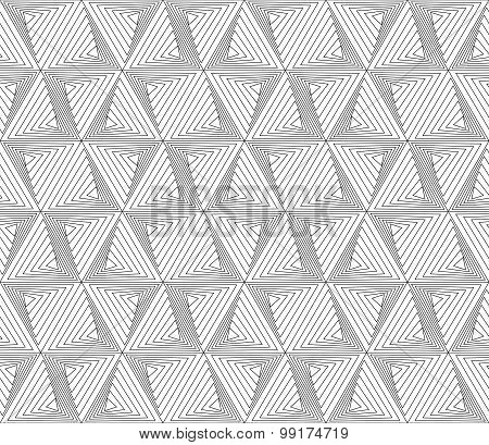 Black And White Geometric Seamless Pattern Modern Stylish With Zigzag Line, Abstract Background.