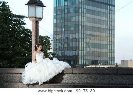 Bride Posing In City
