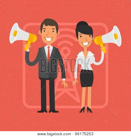 Businessman and businesswoman holding megaphone and smile