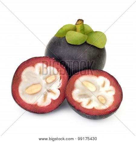 Beautiful Fresh Mangosteen Isolate On White Background
