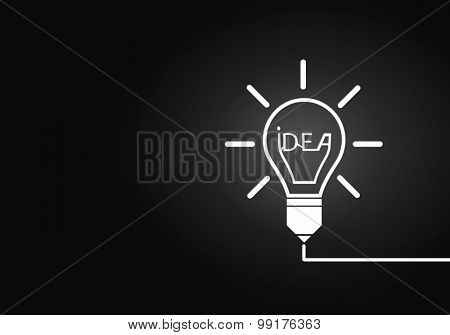 Abstract image with drawn light bulb on gray background